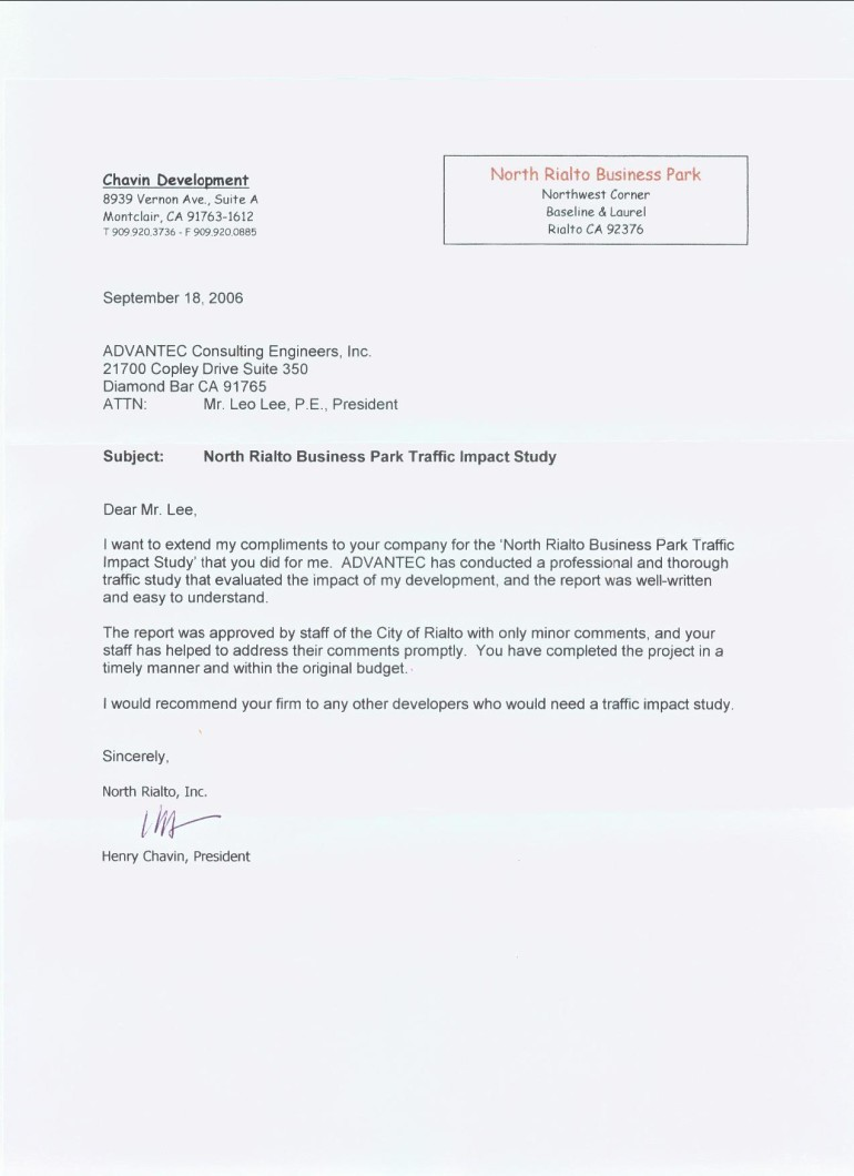 Business Letter Attn Testimonials Advantec Consulting Engineers Inc North  Rialto Business Park How To Address