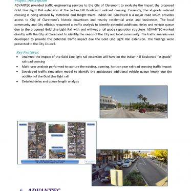 ^WEB-Claremont-Indian Hill Boulevard, Gold Line Light Rail Extension Railroad Crossing Traffic Analysis