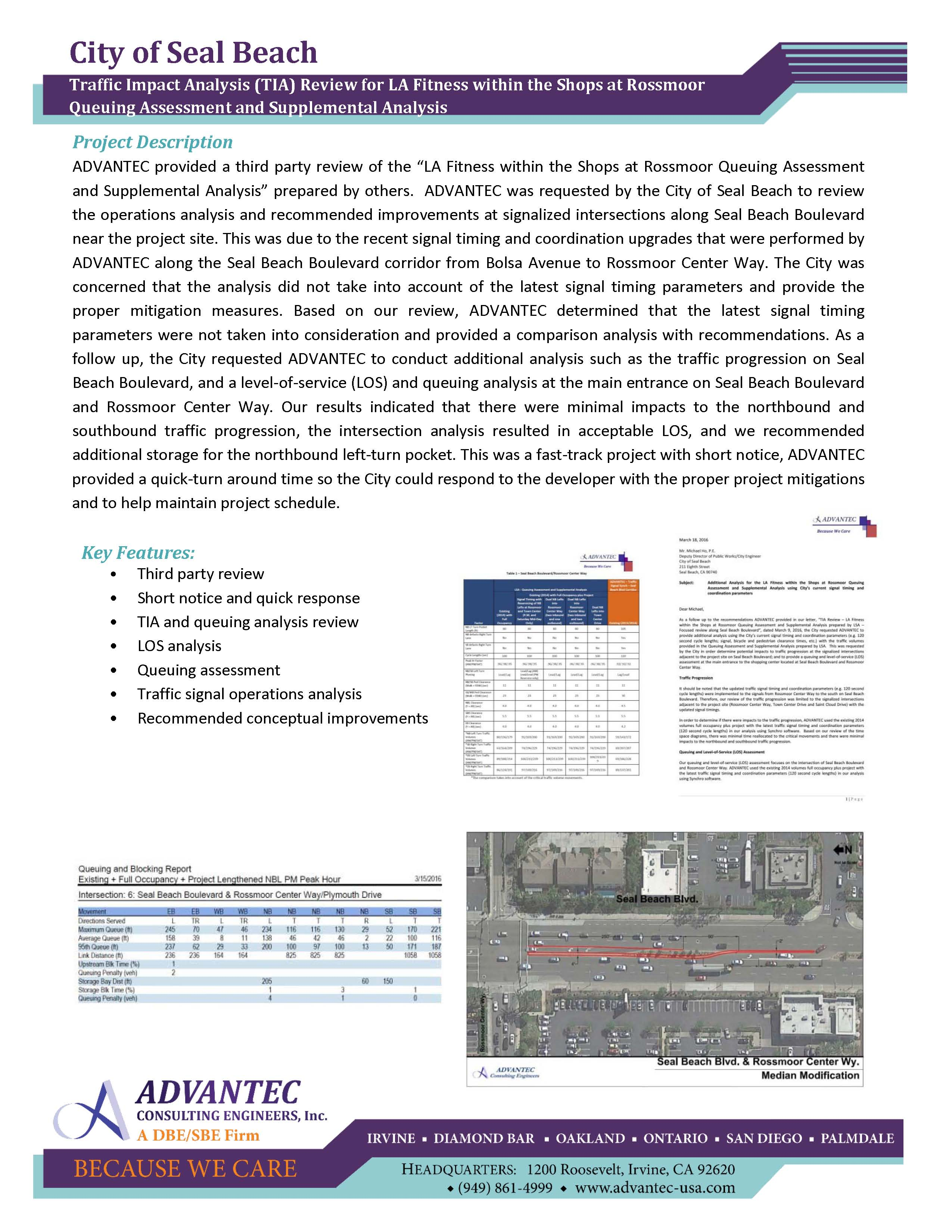^WEB-Seal Beach-Traffic Impact Analysis (TIA) Review for LA Fitness within the Shops at Rossmoor Queuing Assessment and Supplemental Analysis