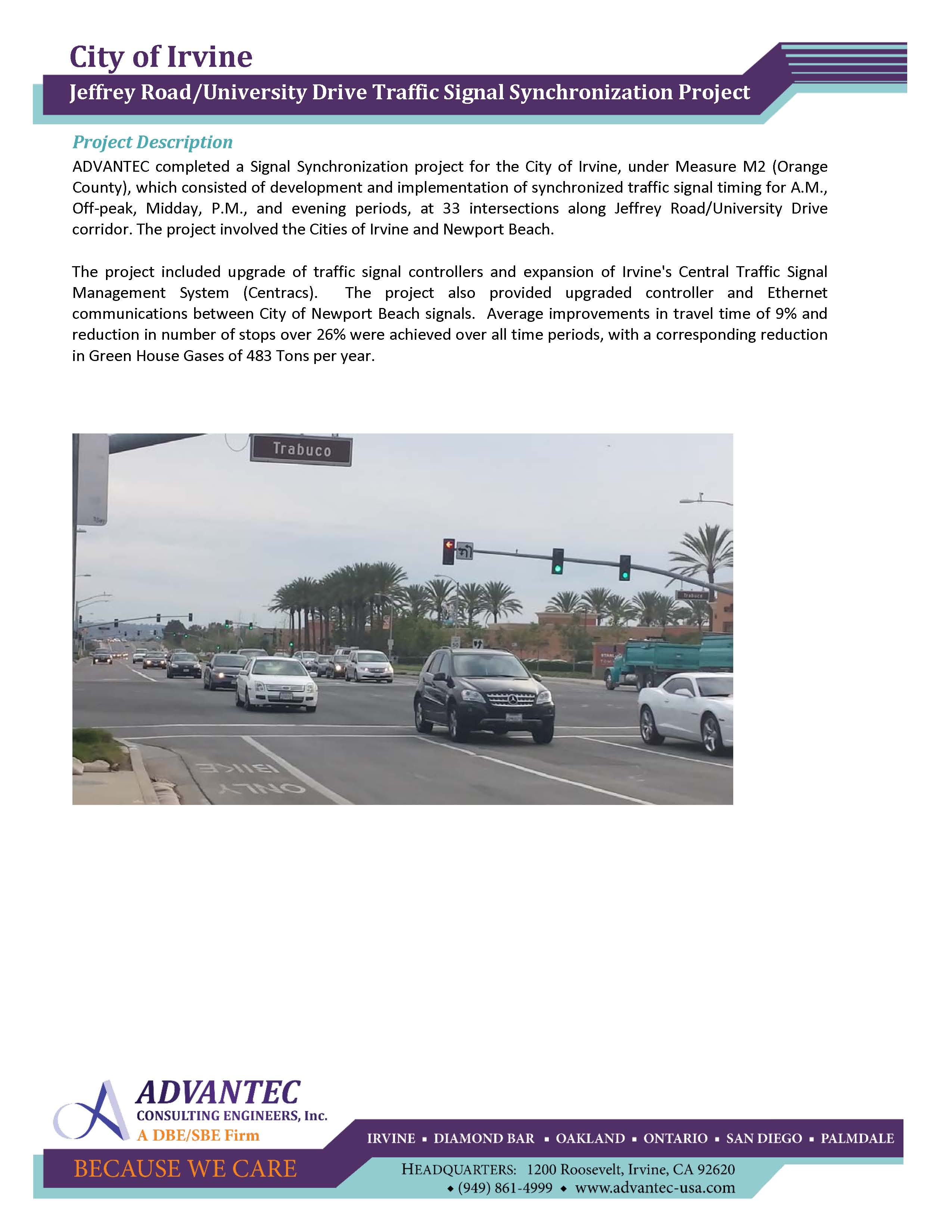 ^web-Irvine – Jeffrey Road and University Drive Traffic Signal Synchronization Project